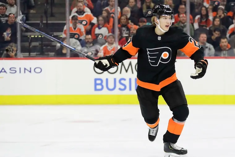 Flyers left winger Oskar Lindblom (above) and right winger Travis Konecny missed Wednesday's game in Colorado with injuries. They share the Flyers' lead with 11 goals apiece.