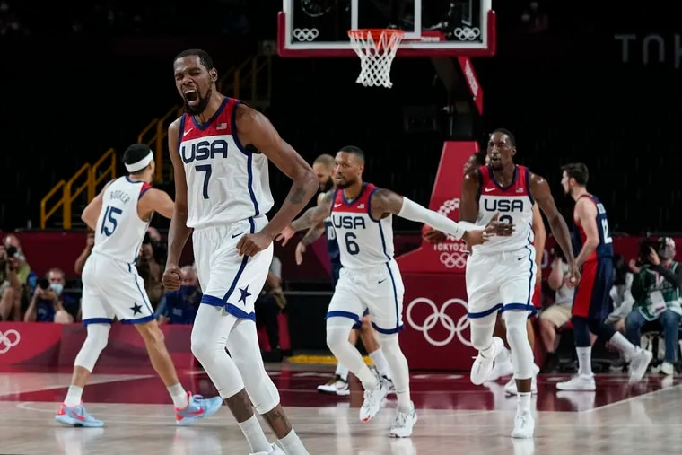 Kevin Durant (7) led the USA men's team in scoring during the Olympics.