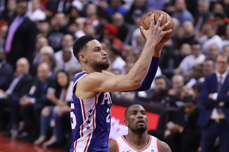 Ben Simmons goes up for basket against Serge Ibaka of the Raptors during the second half of their NBA playoff game at the Scotiabank Arena in Toronto on April 29, 2019.