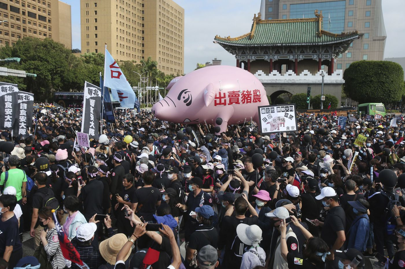 Thousands march in streets in Taiwan against U.S. pork imports
