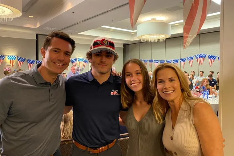 Right winger Tyler Boucher (second from left) celebrates with his family after being selected by Ottawa in Friday's first round. His dad, Brian, is at left, along with his sister, Brianna (second from right), and his mom, Melissa. The family resides in Haddonfield.