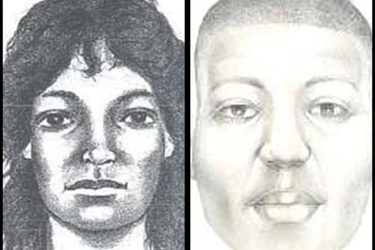 Composite sketches of two still-unidentified people who turned up on the banks of the Delaware River: a man found (right) mostly skeletonized in Gloucester County on New Year's Eve 2008, and a woman found stuffed in a mail bag in Pennsauken in 1996 (left).