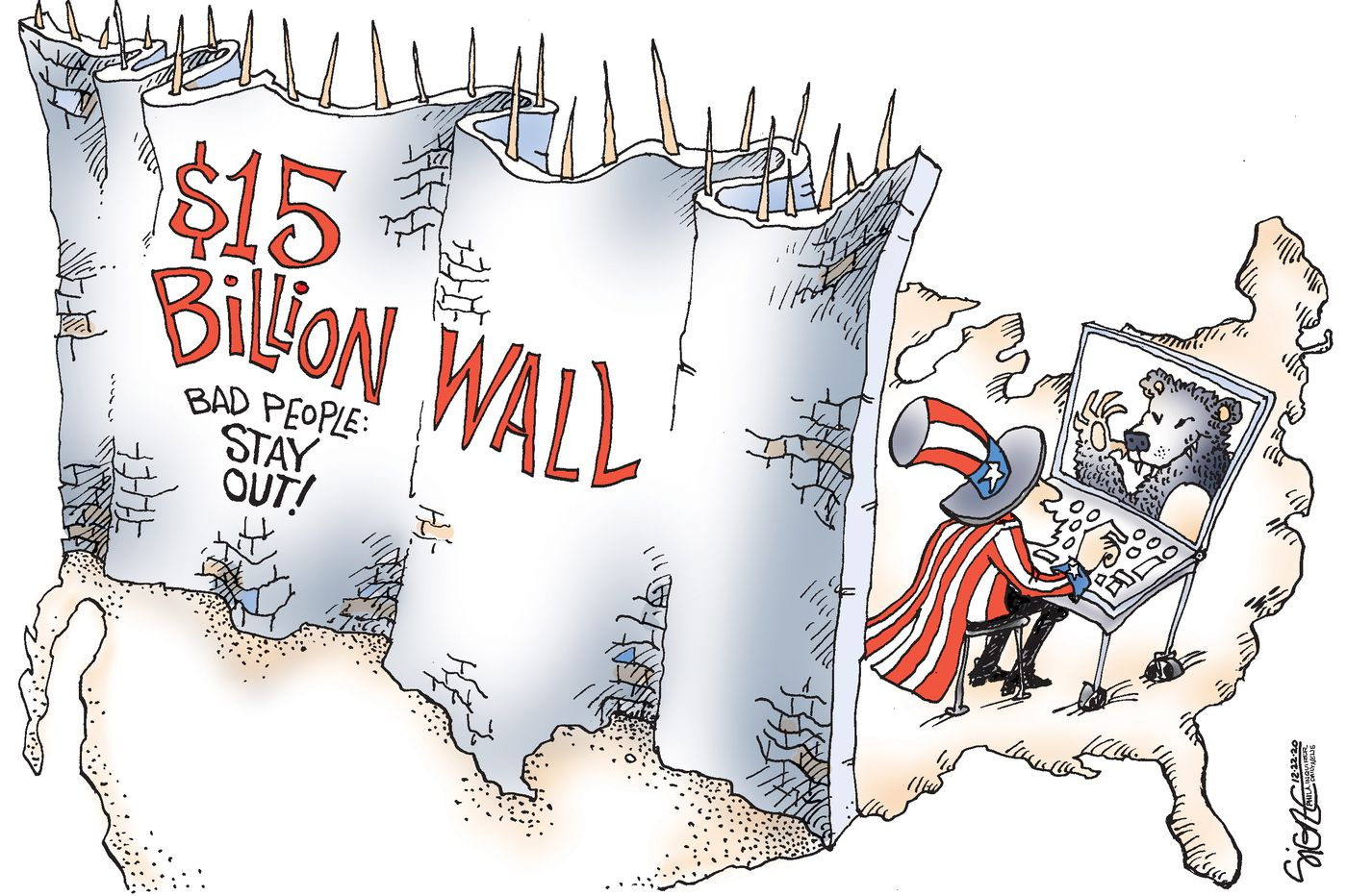 Political Cartoon: Wall out those cyber hackers