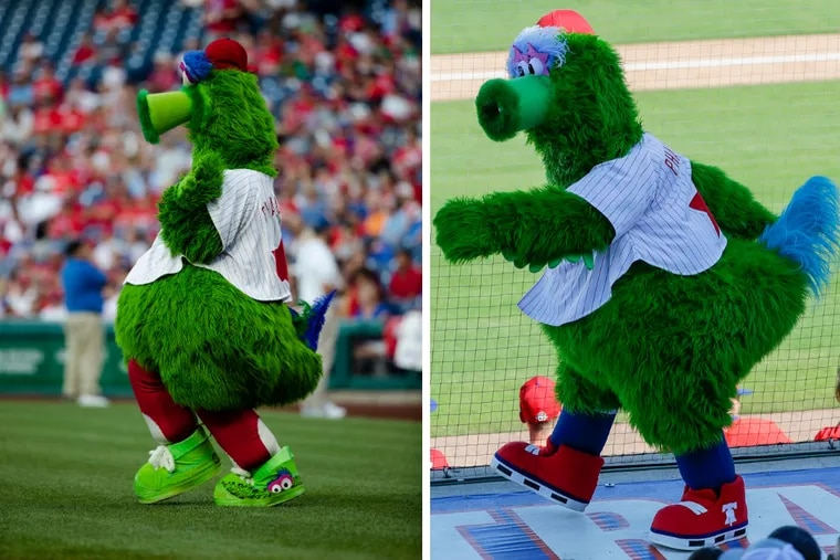Left: The old Phillie Phanatic on Aug. 17, 2019. Right: The new Phillie Phanatic on Feb. 23, 2020.