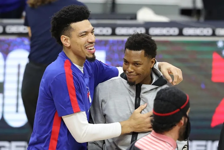 Danny Green, left, of the SIxers greeting former teammate Kyle Lowry of the Raptors before their game at the Wells Fargo Center on Dec. 29, 2020. The two won a championship together in Toronto.
