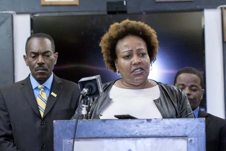 September 6, 2017 — Rochelle Bilal, Pres. of the Guardian Civic League, speaks in regard to display of the Confederate flag insignia at the Philadelphia Police narcotics unit by a white police corporal and racial discrimination by commanding officers, during a press conference at the Guardian Civic League, the Philadelphia branch of the National Black Police Association in North Philadelphia.