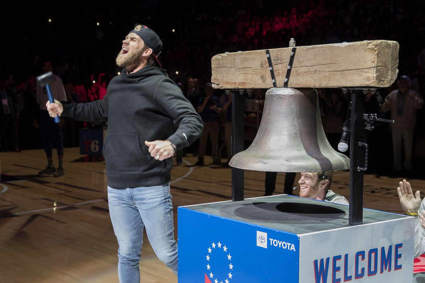 Watch: Bryce Harper rings the bell before Sixers-Bucks game, hangs out with Carson Wentz and fellow Phillies star Rhys Hoskins