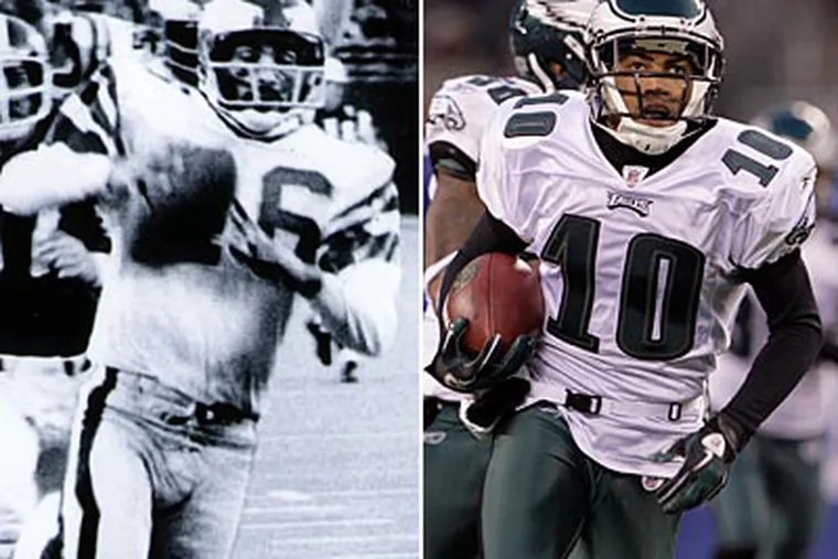 Herm Edwards, left, and DeSean Jackson both scored game-winning touchdowns in New York. (Photos by Ed Mahan, Yong Kim/Staff)