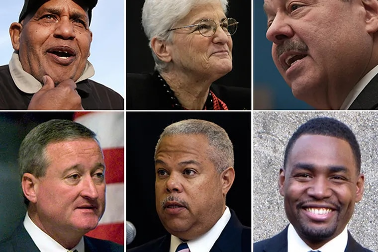 Philadelphia mayoral candidates (clockwise from top left) T. Milton Street, Lynne M. Abraham, Nelson Diaz, James Kenney, Anthony H. Williams, and Doug Oliver. (Staff photos)