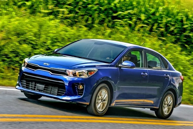 The 2019 Kia Rio keeps its hatchback door intact, something the cousin Hyundai Accent no longer has.