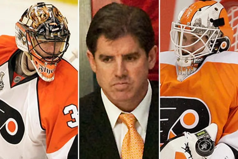 Among Peter Laviolette's decisions to make: who should be the starting goaltender. (David Maialetti, Ed Hille / Staff Photographers)
