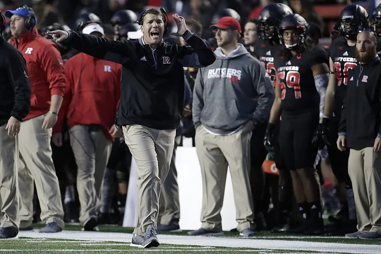 Rutgers head coach Chris Ash shouts at an official during the second half of an NCAA college football game against Maryland, Saturday, Nov. 4, 2017, in Piscataway, N.J.