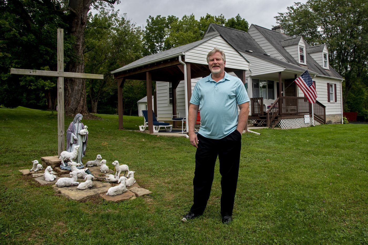 David Greer, pastor of the Norvelt Union Church, outside his home in Norvelt. Greer's is the grandson of an original homesteade.