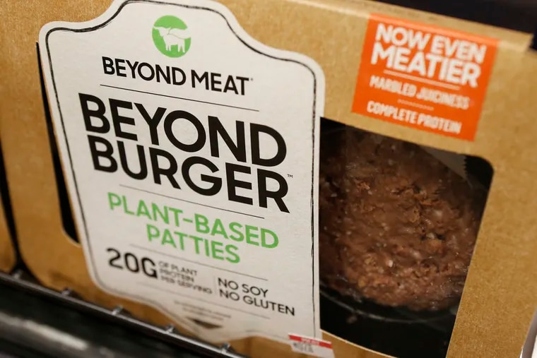 """A meatless burger patty called Beyond Burger made by Beyond Meat is displayed at a grocery store in Richmond, Va., on June 27, 2019. Some states have pushed to ban meatless products from displaying """"meat"""" or related terms on their labels."""