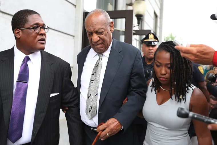 Bill Cosby leaves the courthouse following the declaration of a mistrial in 2017.