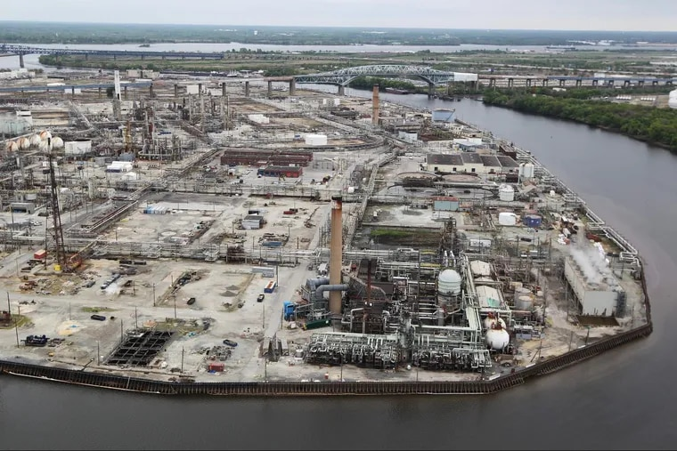 The former Sunoco oil refinery now owned by Philadelphia Energy Solutions along the Schuylkill, in South Philadelphia.