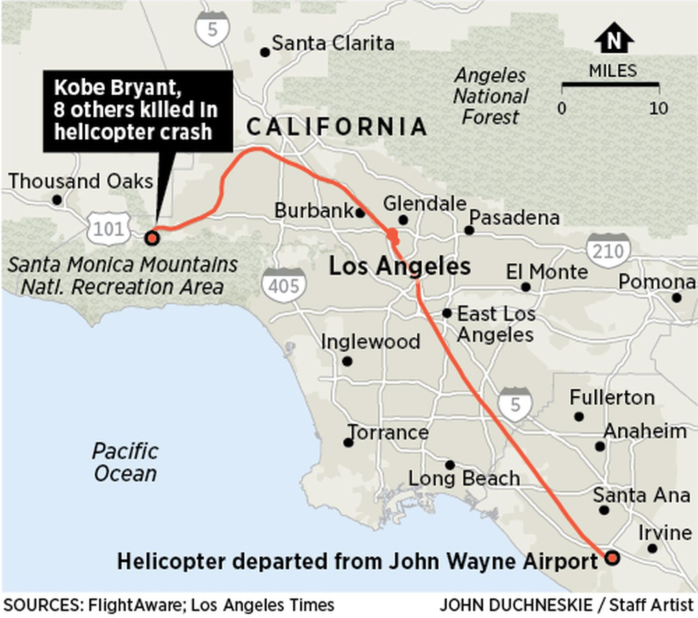 Locator map of Calasbas, Calif., site of helicopter crash on Sunday that killed Kobe Bryant, his daughter, and seven others.