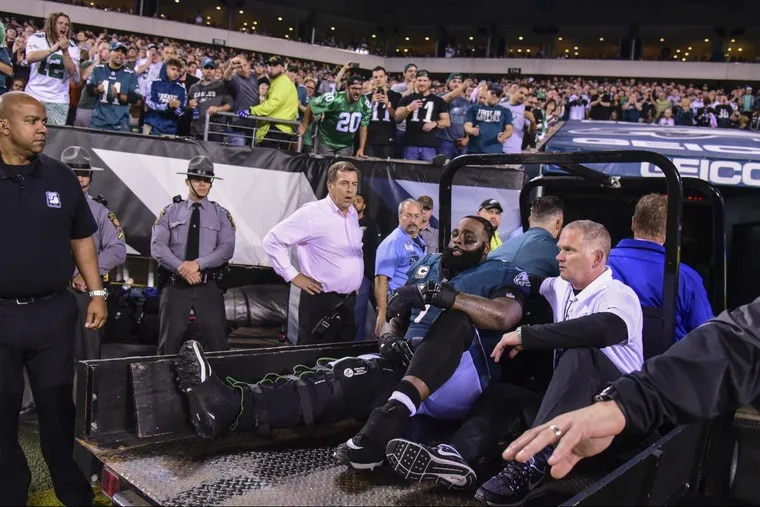 All-pro tackle Jason Peters is carted off the after being injured in the 3rd quarter of the Eagles' 34-24 win against Washington.
