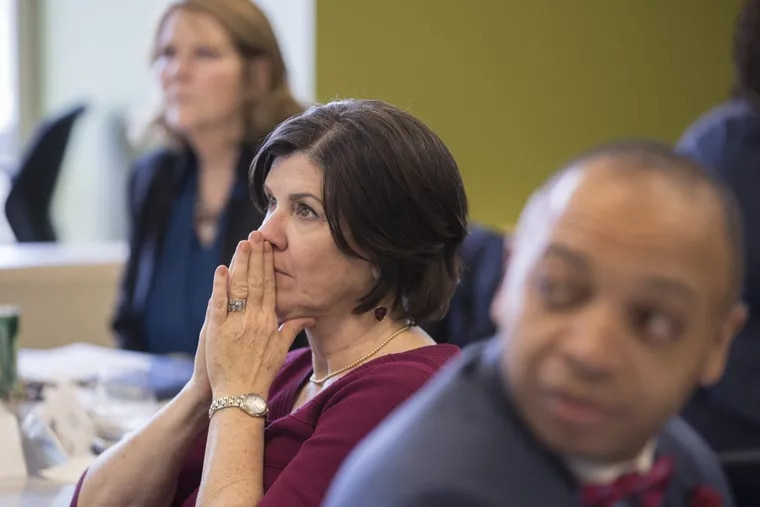 Karen Thomas, principal at Bodine High School, listens intently in a session for the Philadelphia Academy of School Leaders, a program founded by Joe and Jeannette Neubauer.