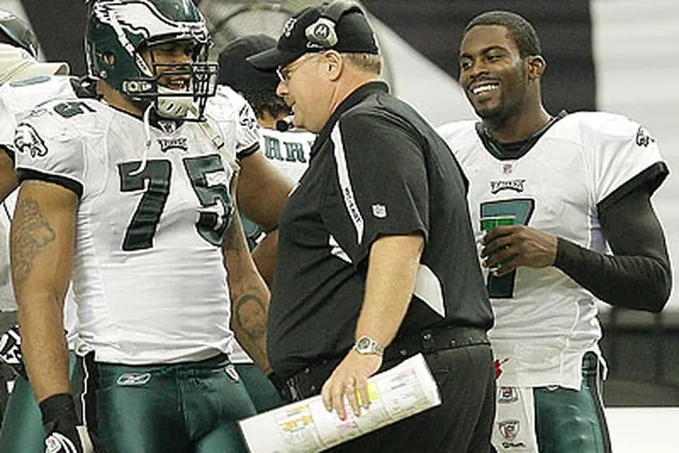 """""""He's doing well. That's the positive side,"""" Eagles coach Andy Reid said of injured offensive lineman Jason Peters. (David Maialetti/Staff Photographer)"""