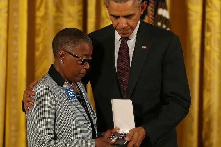 President Barack Obama posthumously awards the Public Safety Officer Medal of Valor to fallen Philadelphia Police Sgt. Robert Wilson III to his grandmother Constance Wilson on May 16, 2016 at the White House in Washington, DC.