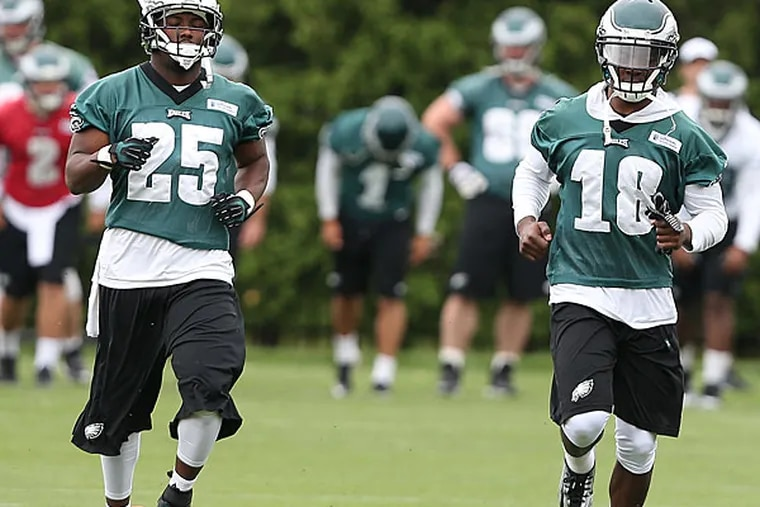 Eagles running back LeSean McCoy and wide receiver Jeremy Maclin. (David Maialetti/Staff Photographer)