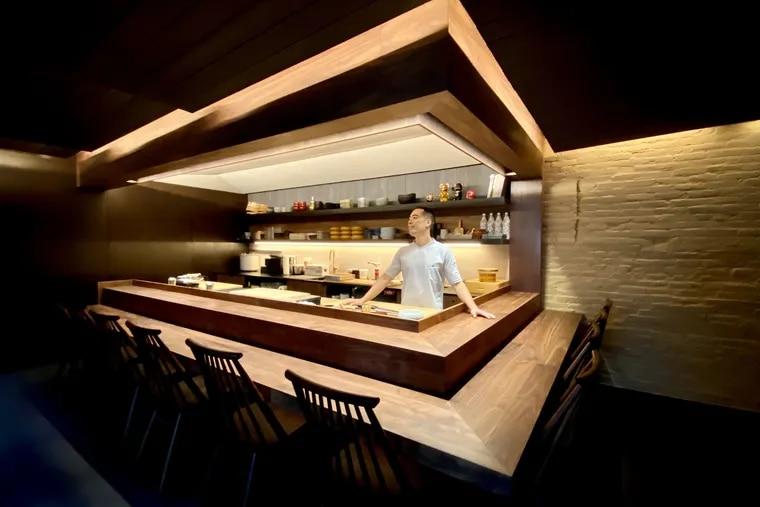 Jesse Ito, chef-owner, behind his omakase counter at Royal Izakaya at 780 S. Second St.
