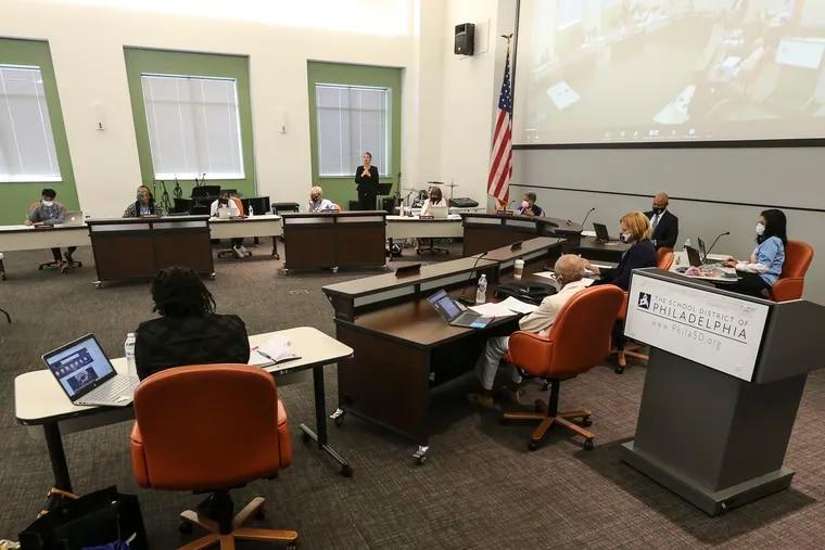 A Philadelphia school board meeting in August.