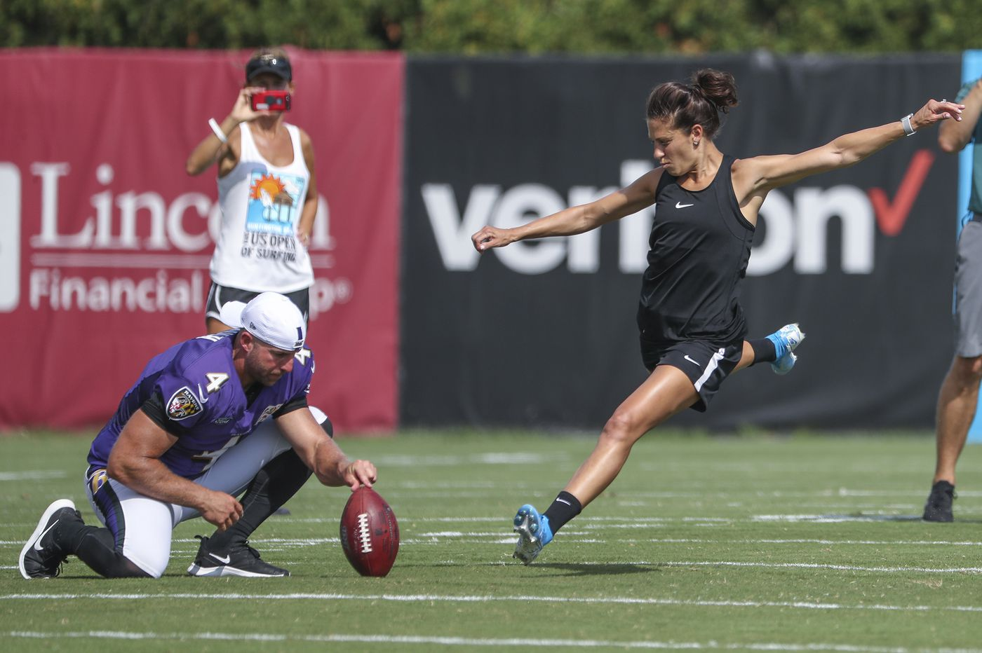 Carli Lloyd kicked a 55-yard field goal at the Eagles-Ravens joint practice