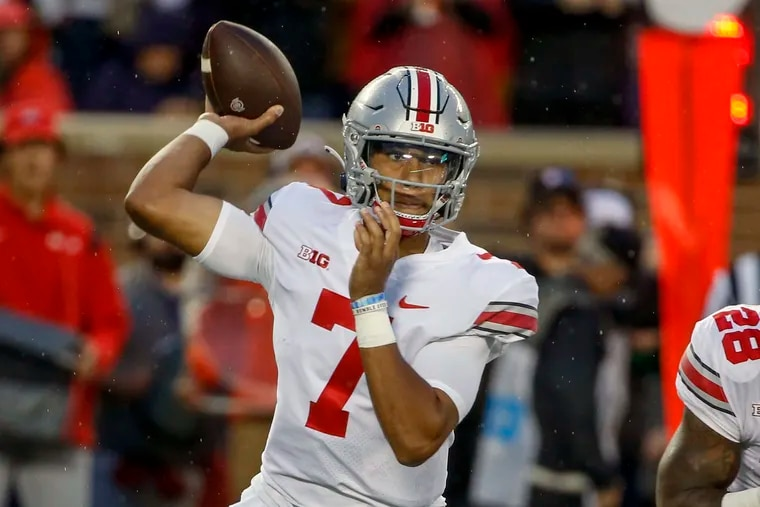 Ohio State quarterback C.J. Stroud passes against Minnesota in the first quarter of an NCAA college football game Thursday, Sep. 2, 2021, in Minneapolis.
