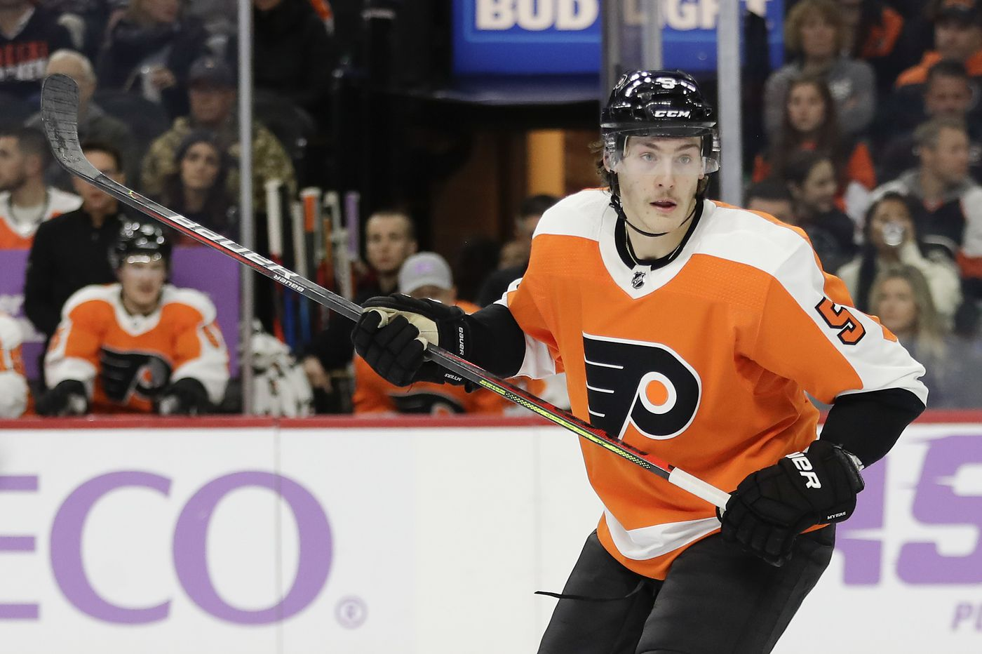 Phil Myers returns to Flyers lineup; Buffalo's sizzling Jack Eichel sidelined