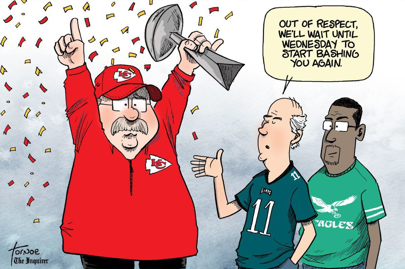 Sports cartoon: Andy Reid won his Super Bowl. Now Eagles fans can go back to normal.