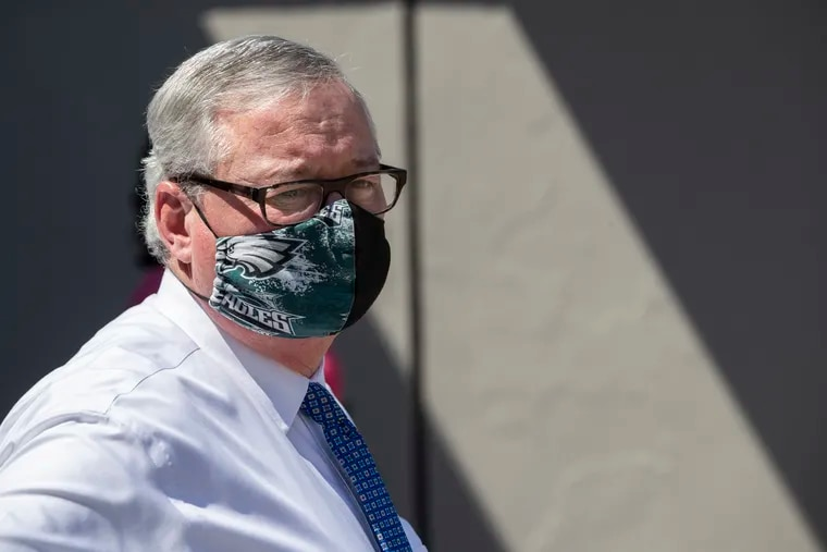 Mayor Jim Kenney, in his Eagles mask, waits at a press conference on May 26, 2020. Masks are now mandatory in Philadelphia in all indoor public places, and are required outdoors wherever people who are not members of the same household are gathered, Health Commissioner Thomas Farley announced Friday.