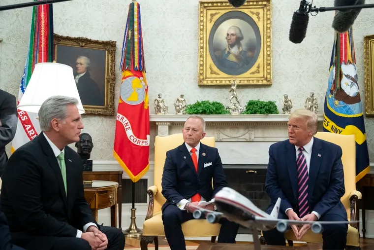 House Minority Leader Kevin McCarthy (left) and Rep. Jeff Van Drew joined President Donald Trump at the White House for a Dec. 19 announcement that Van Drew was becoming a Republican.