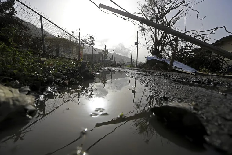Downed power lines and debris in Yabucoa, Puerto Rico, in the aftermath of Hurricane Maria.