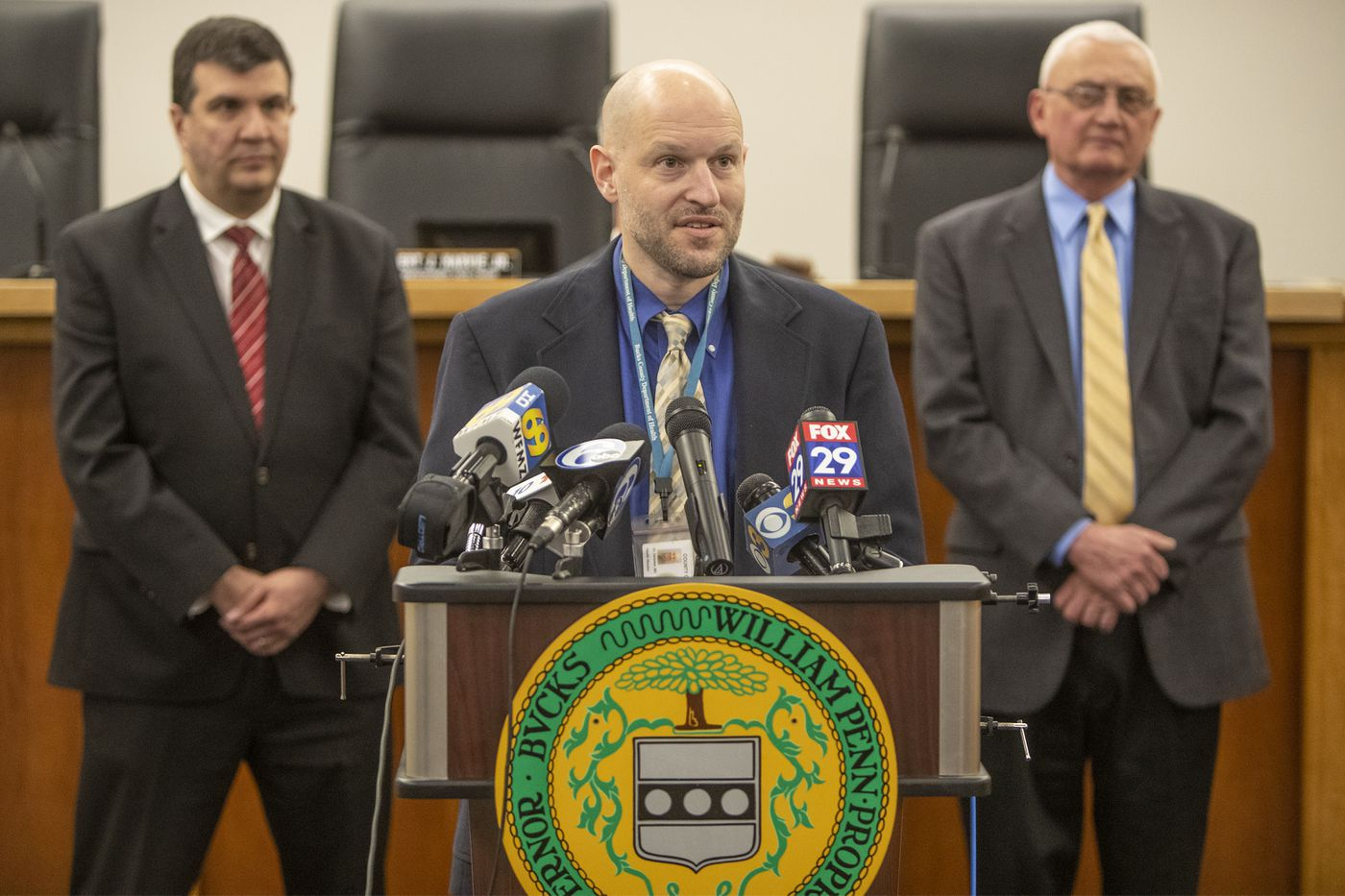Dr. David C. Damsker, the director of the Bucks County Health Department, speaks at a Wednesday briefing.