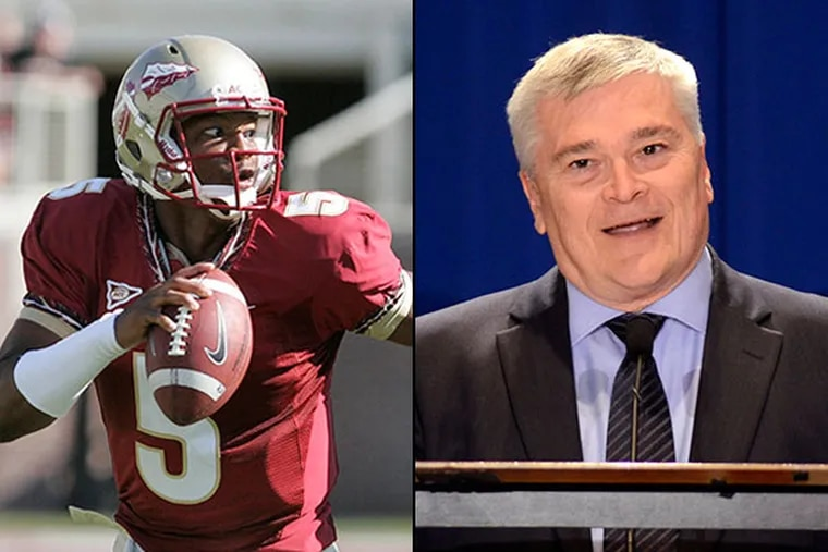 Eric Barron (right), who was Florida State's president when their star quarterback, freshman Jameis Winston (left) was accused of rape, has been named the next leader of the Pennsylvania school, which has already been battered by a scandal over sexual abuse that went ignored by administrators.