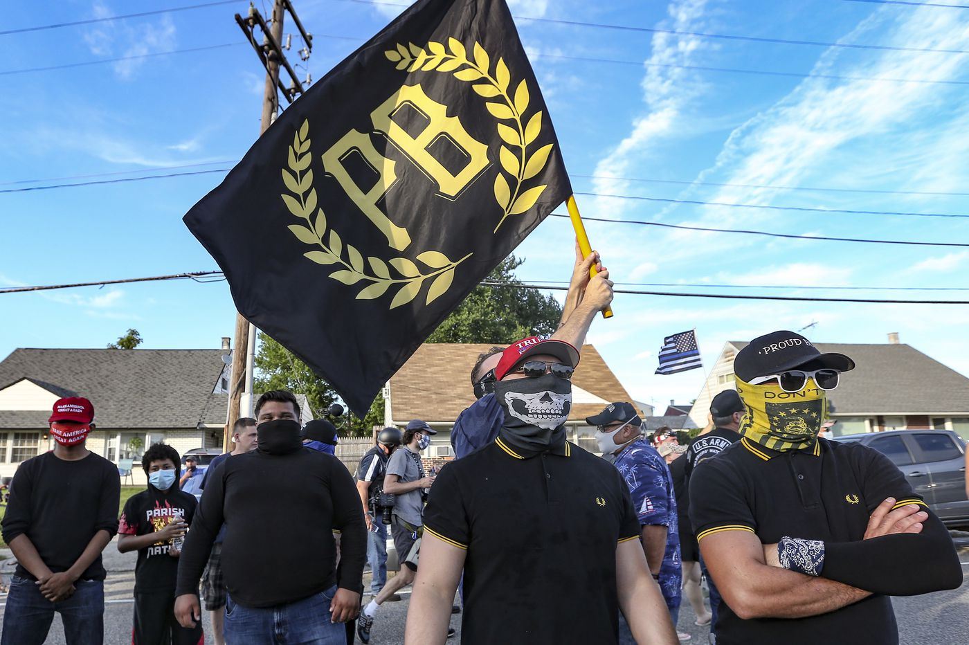 Proud Boys appear to be outside Mike Pence speech at Philadelphia police  union lodge
