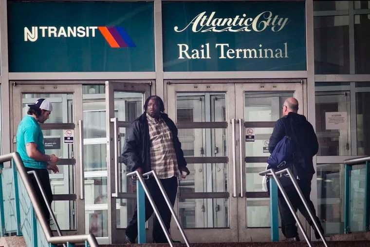 The Atlantic City Rail Line's final stop in Atlantic City. The line reopens on Sunday.
