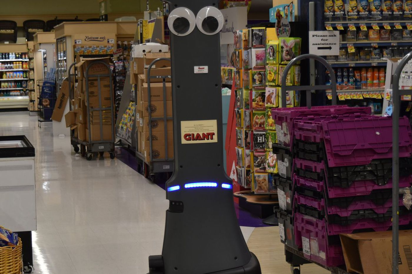 Giant Food Stores will be getting a 6-foot-5, googly eyed robot to scan aisles for hazards