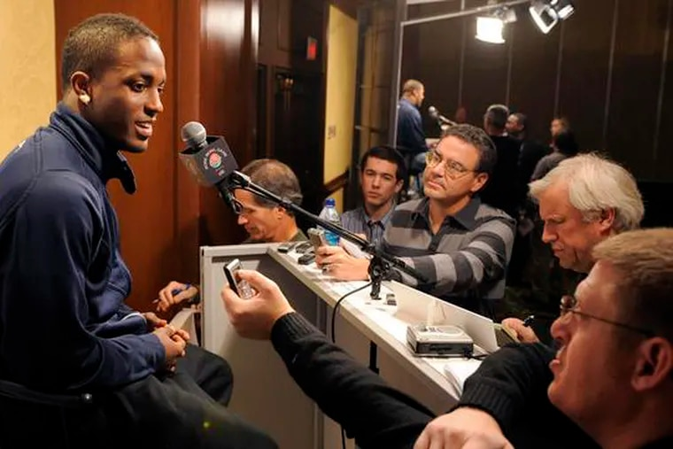 Penn State cornerback Lydell Sargeant talks with reporters yesterday.