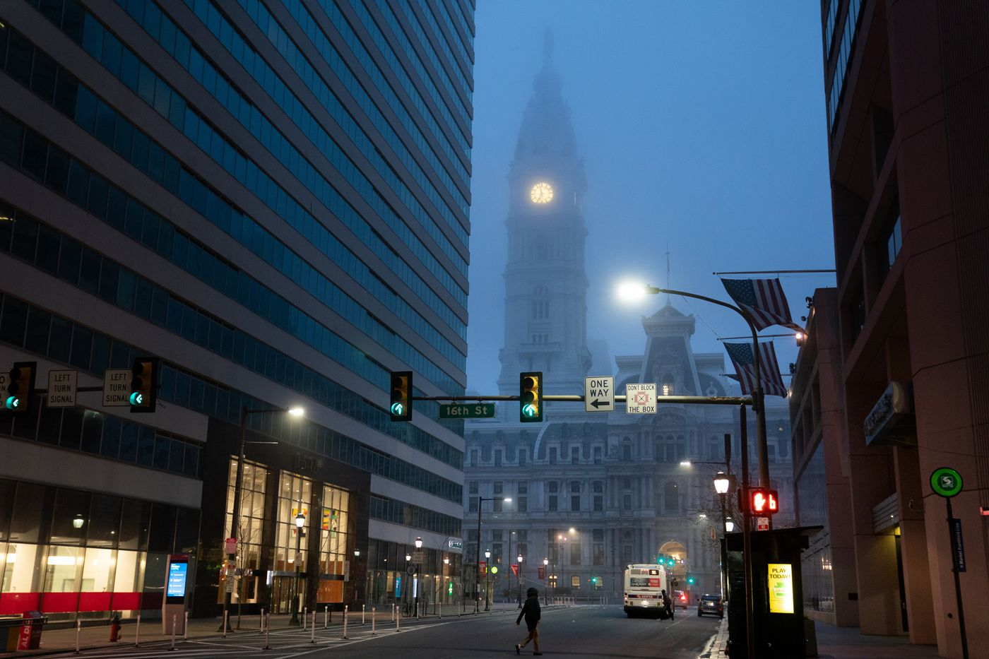 Market street is almost empty early on Friday morning around 7am in front of City Hall, in Philadelphia, March 20, 2020. The coronavirus continues to spread in Pennsylvania and across the United States, in PA all businesses that aren't 'life-sustaining' closed.