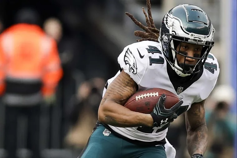 Eagles cornerback Ronald Darby runs with the football after a interception against the New York Giants on Sunday, December 17, 2017.