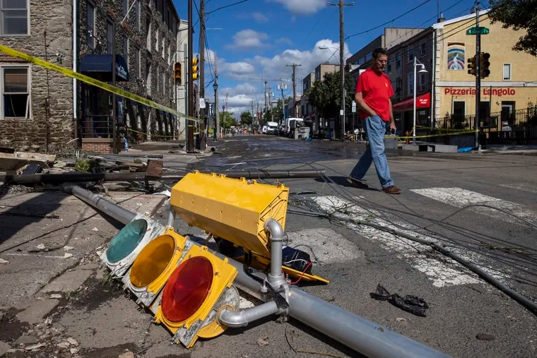 Mike Esrich of Manayunk walked down to Main Street at Shurs Lane to see the damage from Wednesday night's flood after tropical storm Ida passed over Philadelphia and the region. This photo is from Friday morning September 3, 2021.