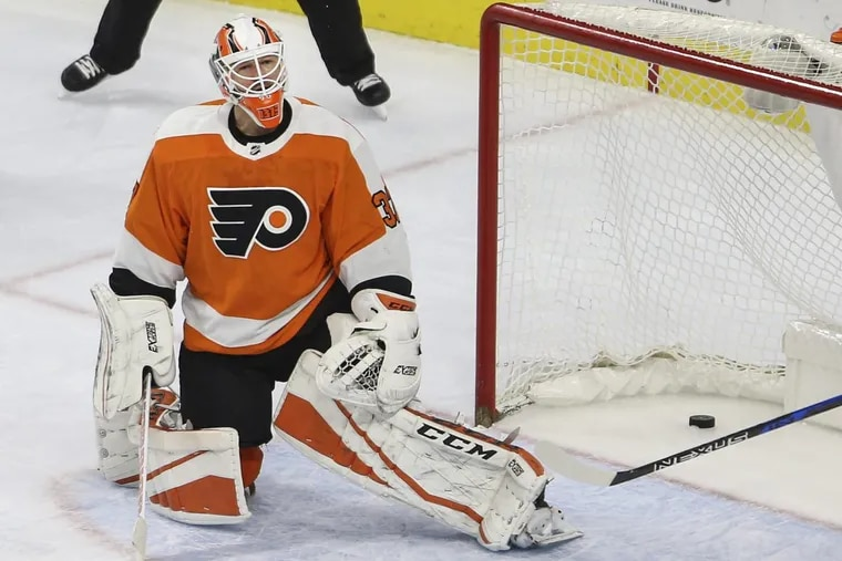 Flyers goalie Brian Elliott reacts to Kings forward Tyler Toffoli's goal during the third period at the Wells Fargo Center Monday night.