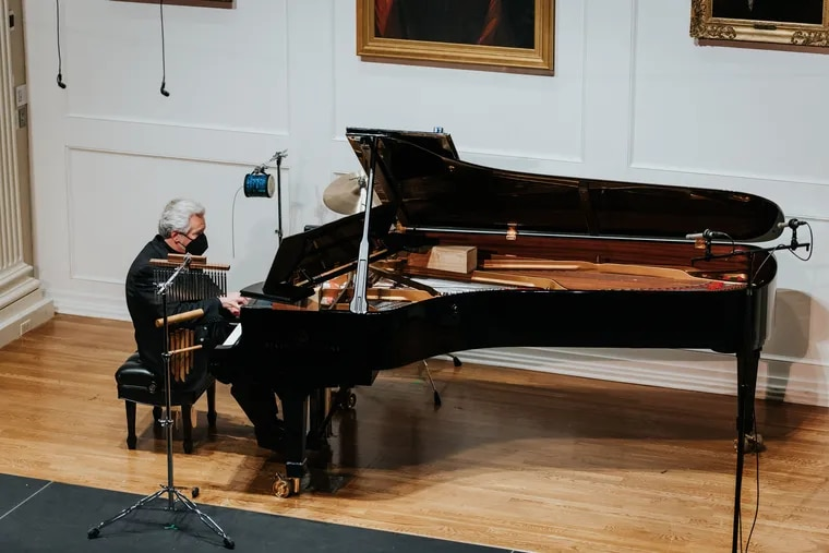 Marcantonio Barone plays George Crumb's Metamorphoses (Book II) in its world premiere in a live-streamed PCMS concert at Philadelphia's American Philosophical Society Dec. 13, 2020.