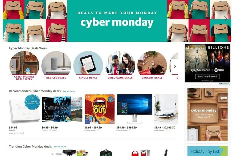 Screen shot of Amazon.com page, which promoted Cyber Monday deals. Cyber Monday shattered previous records and generated $6.6 billion in online sales.