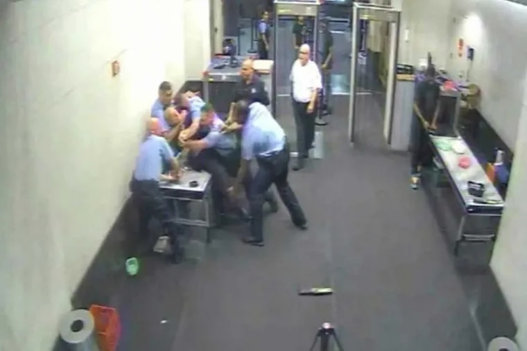 A photo from the surveillance video of the Aug. 22 melee that ended with the arrest of Clifford Haines.