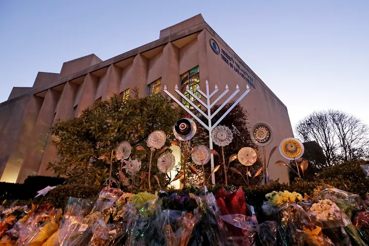 A menorah outside the Tree of Life Synagogue in preparation for a celebration service at sundown on the first night of Hanukkah, in the Squirrel Hill neighborhood of Pittsburgh, in December.
