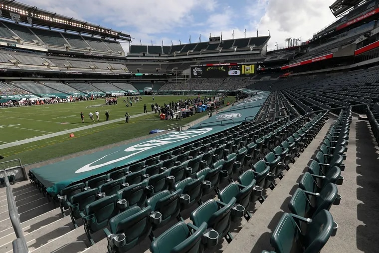 The stands are empty due to the coronavirus pandemic during a game between the Eagles and the Cincinnati Bengals in September at Lincoln Financial Field.